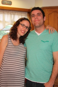 Rob and I at my baby shower, September 2013.